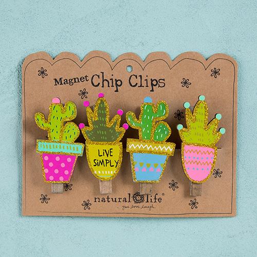 Natural Life: Set of 4 Magnet Chip Clips - Succulents