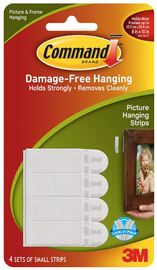 Command Small Picture Hanging Strips - White (4 Pack)