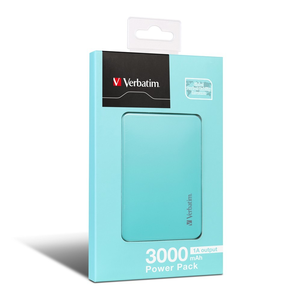 Verbatim Compact Li-Polymer 3,000 mAh Power Pack (Sky Blue) image