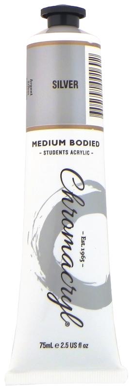 Chromacryl: Acrylic Paint Tubes - Silver (75ml)
