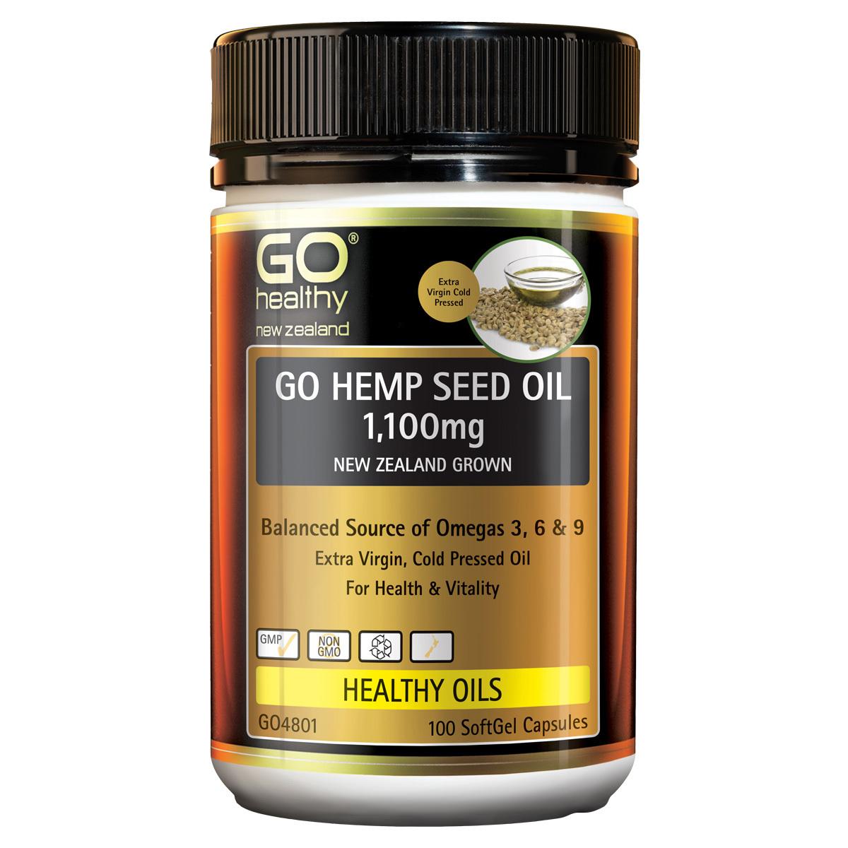 GO Healthy: GO Hemp Seed Oil 1100mg Capsules (100's) image