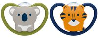 NUK: Space Silicone Soothers Koala/Tiger - 0-6mths (2pk)