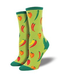 Womens - Green A Little Chili Crew Socks