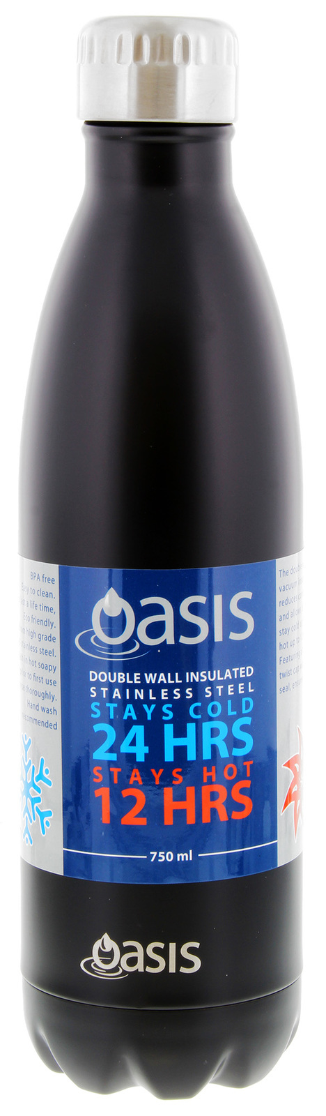 Oasis Insulated Stainless Steel Drink Bottle - 750ml (Matte Black) image