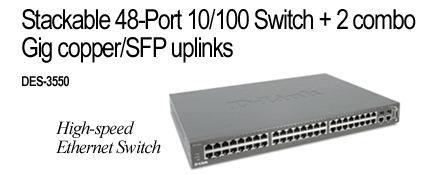 D-Link Stackable 48-Port 10/100 Switch +2combo Gig copper/SFP uplinks