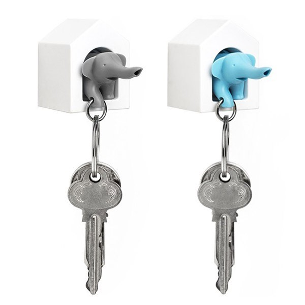 Qualy Duo Elephant Key Ring (Blue/Grey) | at Mighty Ape NZ