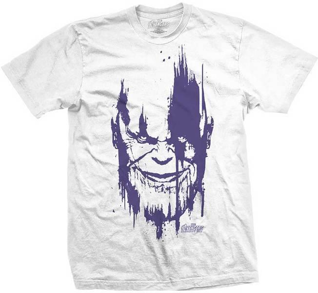 Avengers Infinity War Thanos Head Purp Mens White TS: Medium image