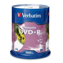 Verbatim DVD+R 4.7GB 100Pk White InkJet 16x image