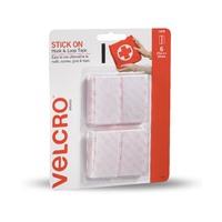 VELCRO Brand Hook & Loop Stick on Hook & Loop Fasteners Strips 25x50mm White Pkt6