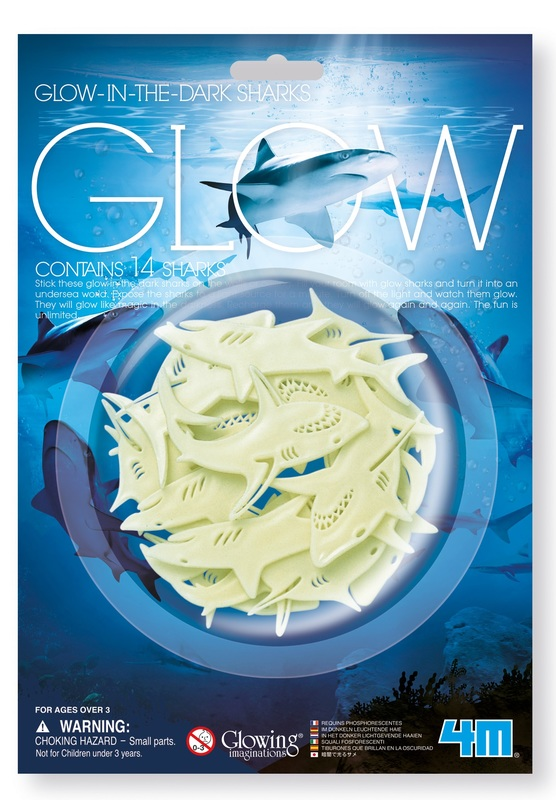 4M: Glow-In-The-Dark Sharks - Wall Stickers Set