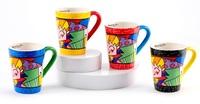 "Romero Britto - Ceramic ""The Hug"" Mug Set (4pc)"
