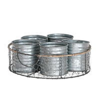 Zinc Herb Pots in Wire Crate