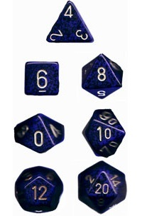 Chessex - Polyhedral Dice Set - Golden Colbalt Speckled image