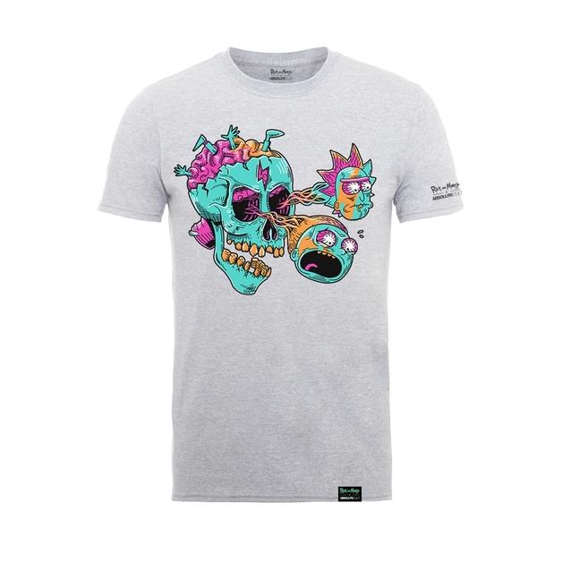 Rick and Morty: Eyeball Skull T-Shirt - Heather Grey (XX-Large)