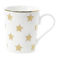 Miss Etoile: Large Coffee Mug - White/Gold Stars