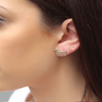 Short Story: Funky Play Earrings - Gold Sausage Dog image