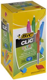 Bic: Clic Medium Ballpoint Pen - Blue w/ Assorted Barrel Colours (Box of 50)