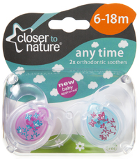 Closer to Nature Any Time Soother 6-18 Months (Flowers) - 2 Pack