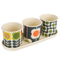 Orla Kiely 3 Herb Pots with Tray - Spot Flower Stem