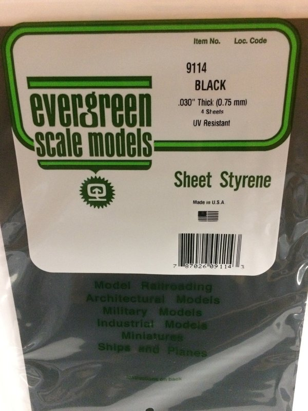 Evergreen Styrene Sheet Black 20X52cm X.75 mm (1)