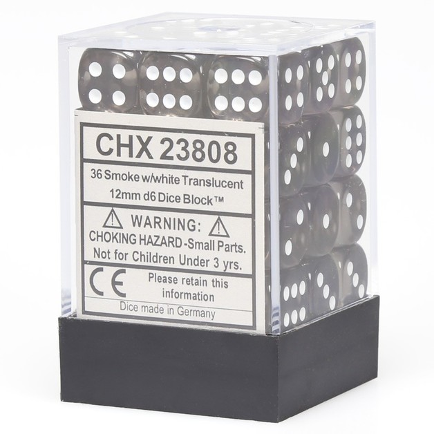 Chessex Signature 12mm D6 Dice Block: Smoke & White Translucent