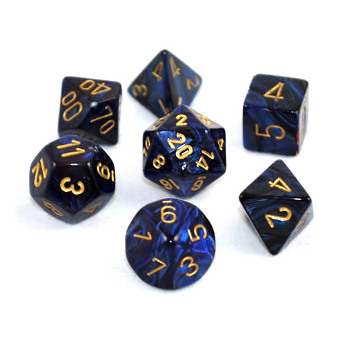 Chessex Signature Polyhedral Dice Set Scarab Royal Blue/Gold