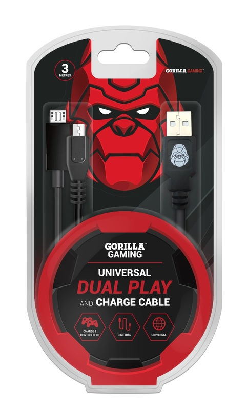 Gorilla Gaming Dual Play and Charge Cable (3m) for PS4