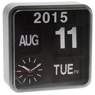 Karlsson Mini Flip Calendar Wall Clock - Silver