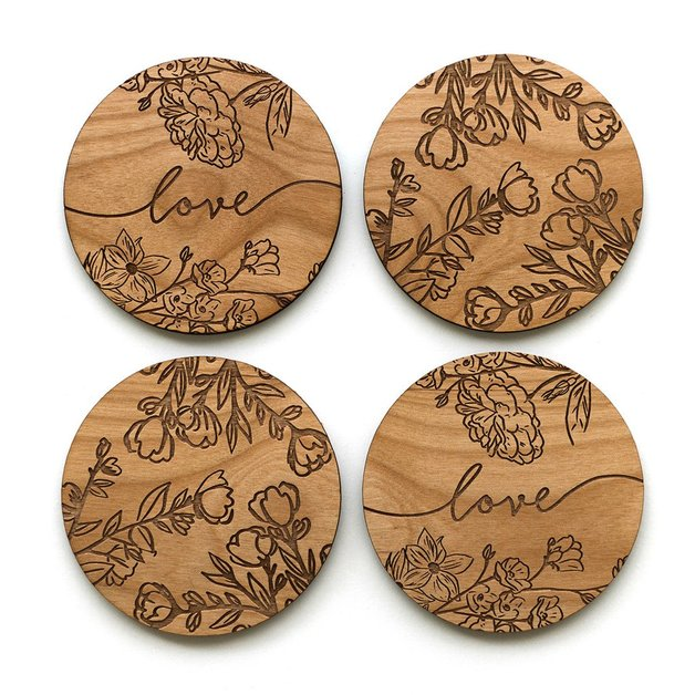 Cardtorial Rose Branches Coasters