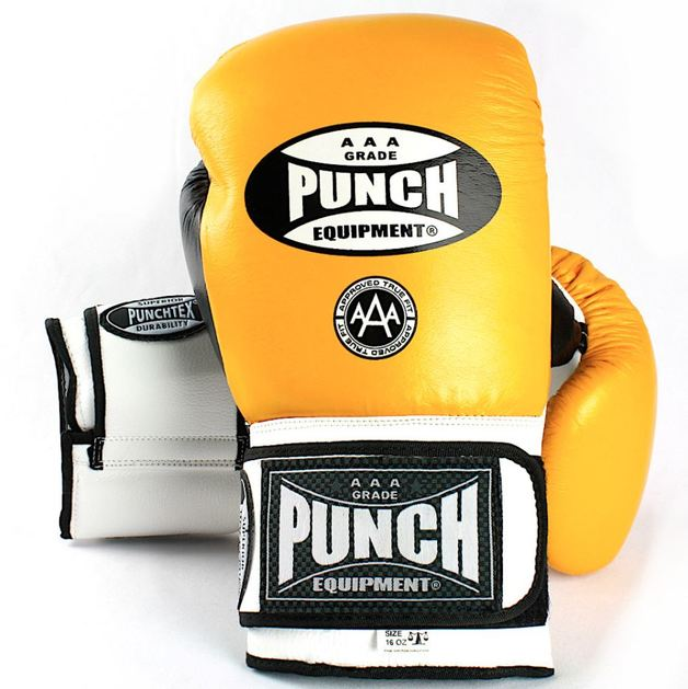 Punch Equipment: Trophy Getters Gloves - Yellow/Black/White (16oz)