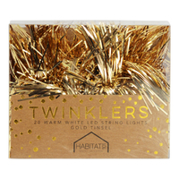 Twinklers: Indoor Warm White LED Lights - Gold Tinsel
