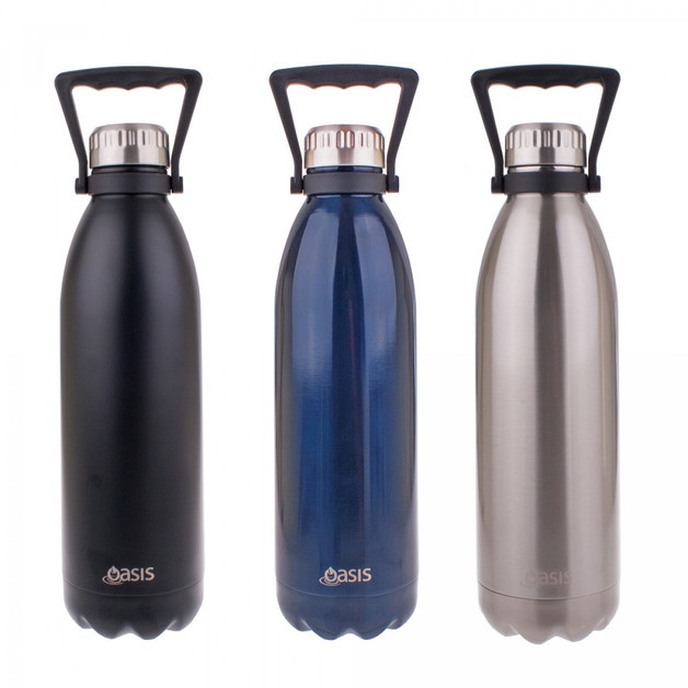 Oasis Insulated Stainless Steel Drink Bottle with Handles - Navy (1.5L)