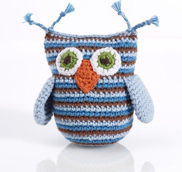 Pebble: Crochet Owl Rattle - Blue