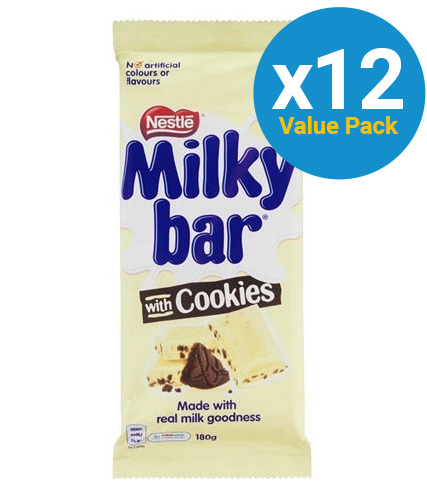 Milkybar - Milk & Cookies Block (12 x 180g)