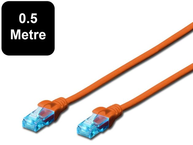 0.5m Digitus UTP Cat5e Network Cable - Orange