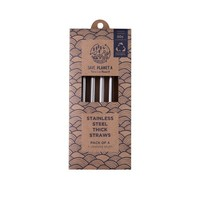 Save Planet A - Stainless Steel Thick Smoothie Straws (4pk)