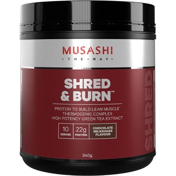 Musashi Shred & Burn Protein Powder - Chocolate Milkshake (340g)