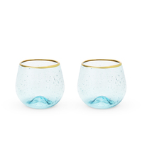 Twine: Seaside - Aqua Bubble Stemless Wine Glass Set