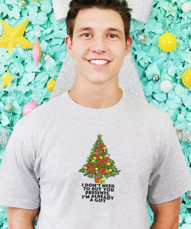 Grey Lines: I Don't Need To Buy You Presents, I'm Already A Gift Men's Tee - L