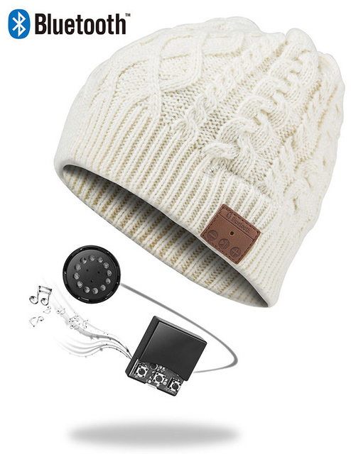 Ape Basics: Wireless Bluetooth Music Beanie Hat- Beige