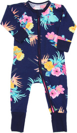 Bonds Zip Wondersuit Long Sleeve - Coolangatta Kids Deep Arctic - Newborn