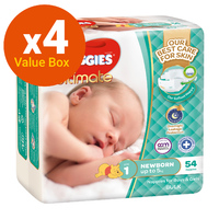 Huggies Ultimate Nappies Bulk Value Box - Size 1 Newborn (216)