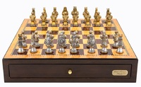 "Dal Rossi: Resin Medieval Warriors - 18"" Chess Set (Walnut Finish)"