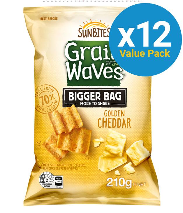 Sunbites Grain Waves Golden Cheddar Party Bag 210g