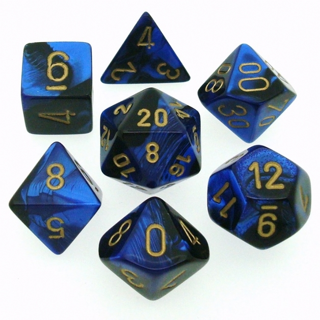 Chessex Gemini Polyhedral Dice Set Blue-Green/Gold