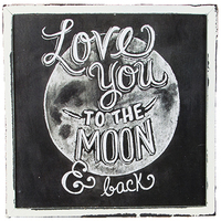Love You to the Moon Vintage Chalkboard Style Box Frame