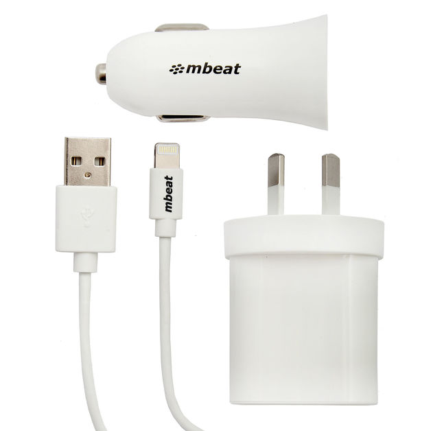 mbeat 3-in-1 MFI USB Lightning Charging Kit (1m Lighting to USB Cable + 2.1A Car plug & Wall Charger)
