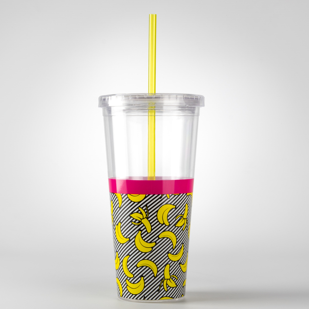 Mustard: Straw Cup Double Wall Tumbler - Banana