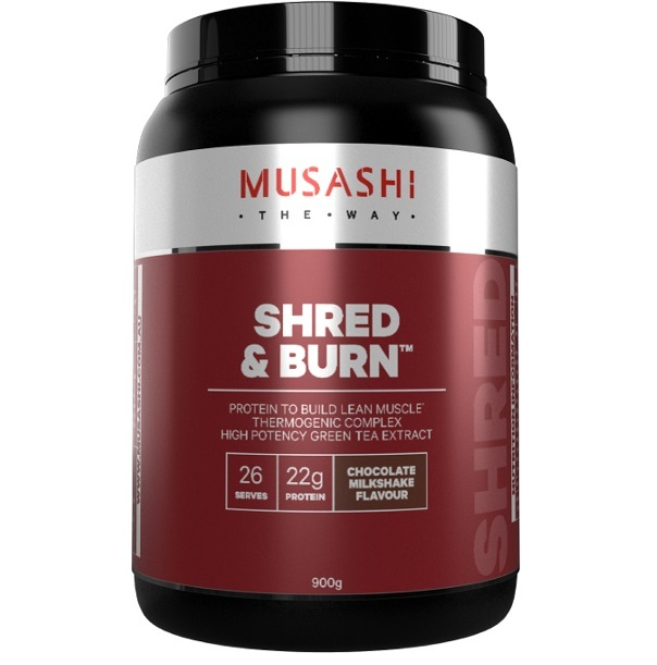 Musashi Shred & Burn Protein Powder - Chocolate Milkshake (900g)