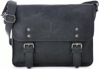 Urban Forest: Apache Small Leather Satchel Bag - Black image